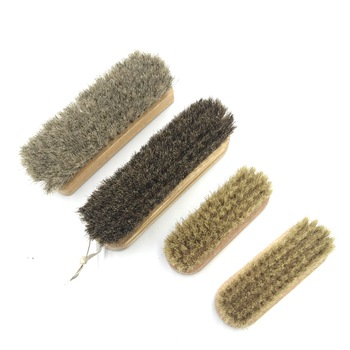 Wooden handle Horse hair shoe brush cleaning Natual Horse Bristle Hair