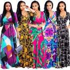 2020 New Arrival Sexy Plus Size Fashion Digital Printing European and American Fashion Dresses Maxi Clothing