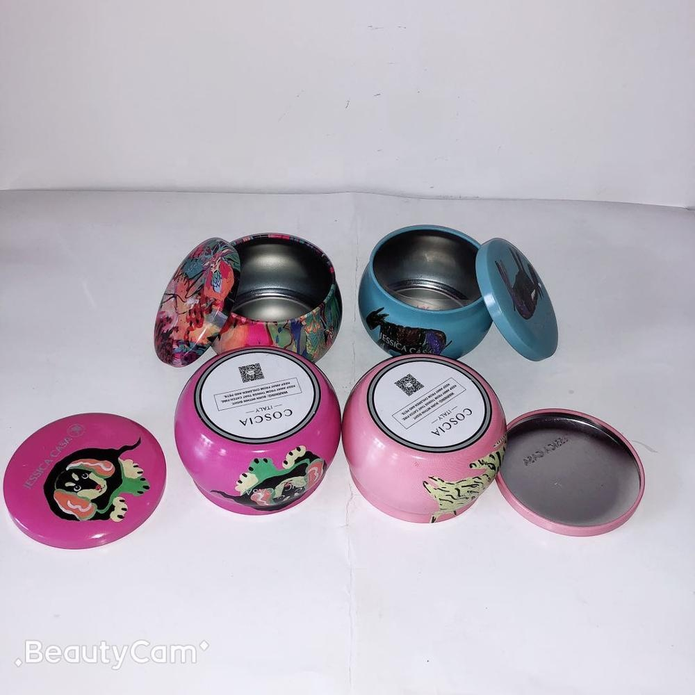 cup shape tin box for gift package/candle tin box