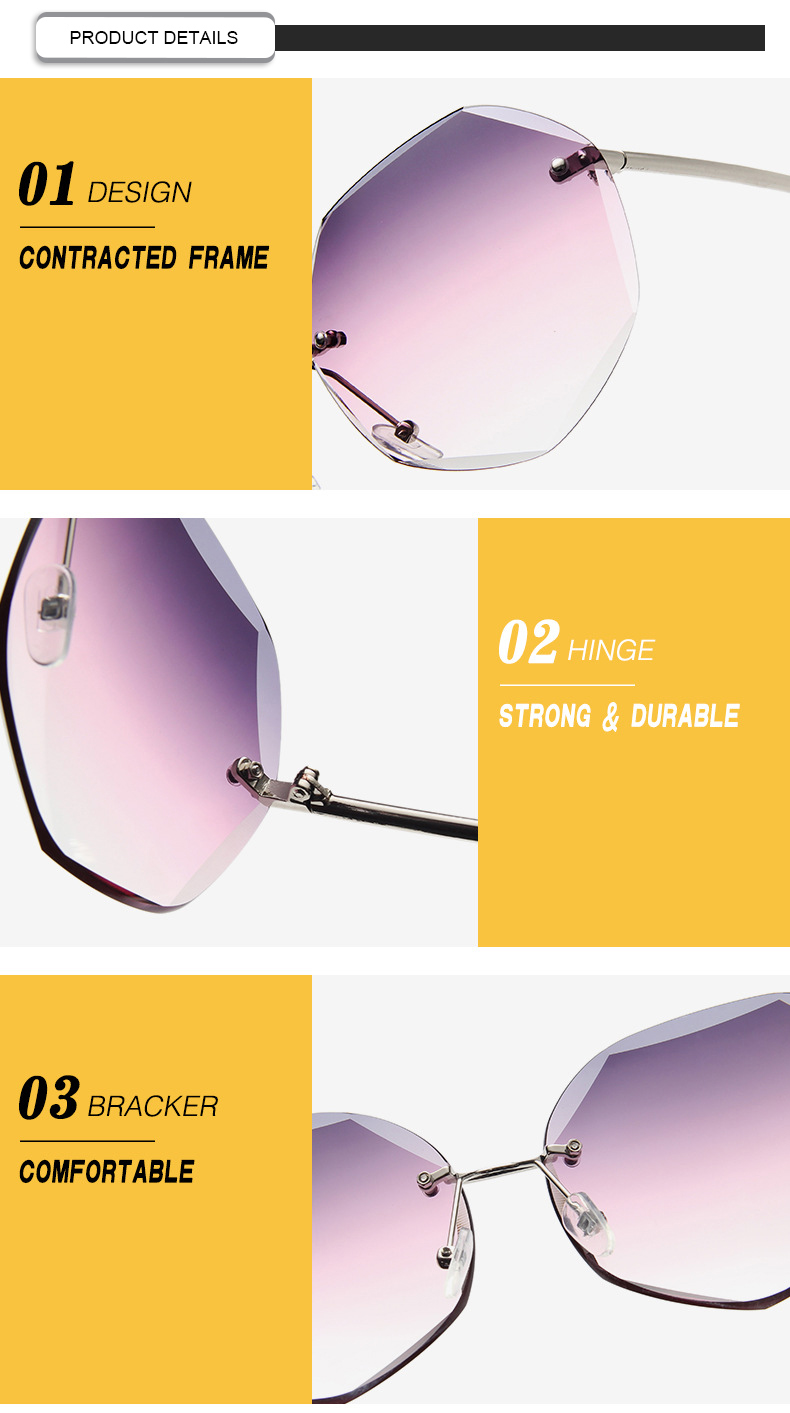 Customized Logo 2019 Retro Photochromic Polygon Rimless Women Sunglasses