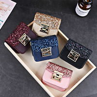 European style girls fashion clothes decoration bags chain glitter pu hasp makeup bags small mini cosmetic shoulder bags pouch