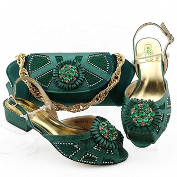 AB8603 gold color italian ladies shoes and matching bags