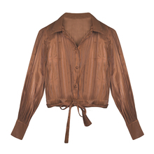 Custom Fashion Design Meisjes Top V-hals Lange Mouwen Womens Blouse Sping <span class=keywords><strong>Zomer</strong></span> Met Boog Riem Vrouwen Kleding