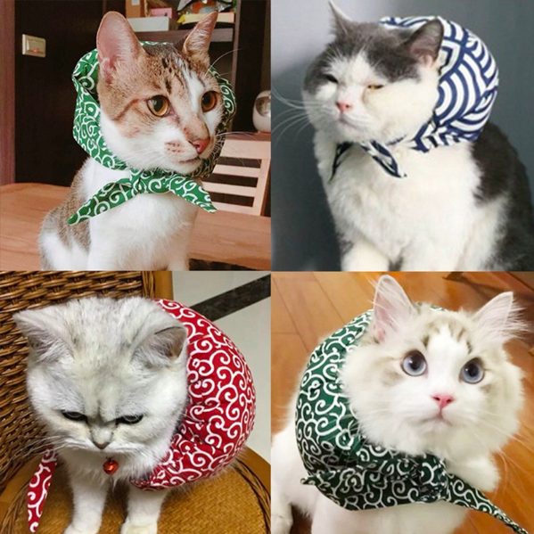 Novel Dogs Grooming Accessories Cute Cotton Filled Dogs Cats Scarf Japanese Style Pet Cloth-wrappers Shaped Collar