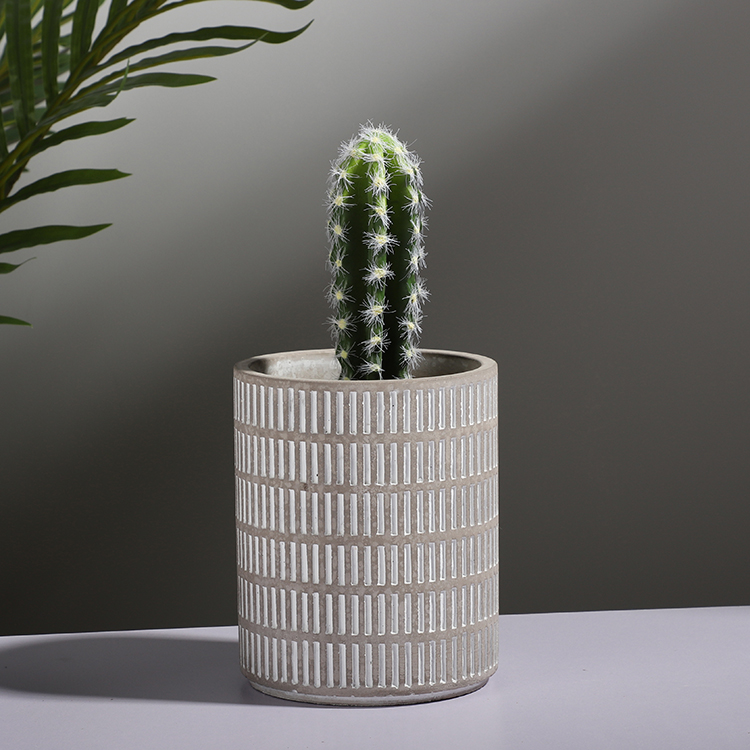 Embossed design matte nordic style cylinder cement patio balcony decor ceramic planters / garden planter for plants