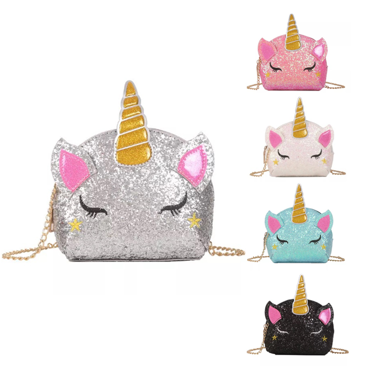 Osgoodway New Trendy Cute Sequin Unicorn Little Girls Crossbody Purses Shoulder Sling Bags for Women Girls
