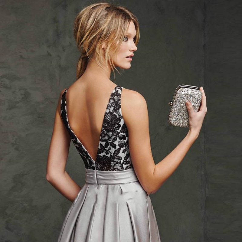 Lace Satin evening dresses 2018 Sleeveless open back Long dresses women party evening Silver Gray