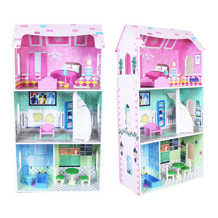 Anak-anak DIY Mini Kayu Rumah Boneka Miniatur Kayu Mainan Boneka Rumah dengan Furnitur