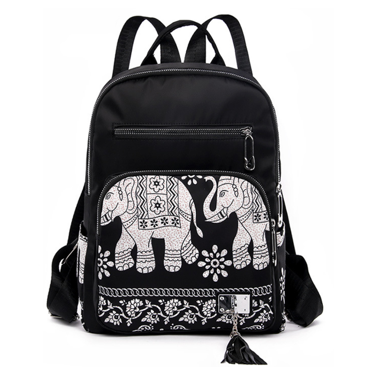 Osgoodway2  Elephant Waterproof Nylon Lightweight School Shoulder Bag Fashion Lady College Backpack