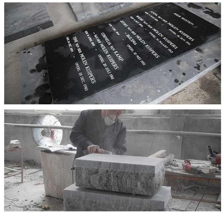 Customized Gravestone Tombstone Black Granite Beautiful Tombstone Designs