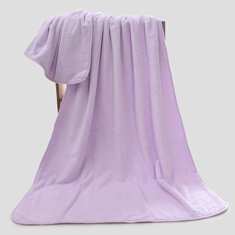 China supplier high end fast dry thickness microfiber purple bath towel with paper tapes custom logo