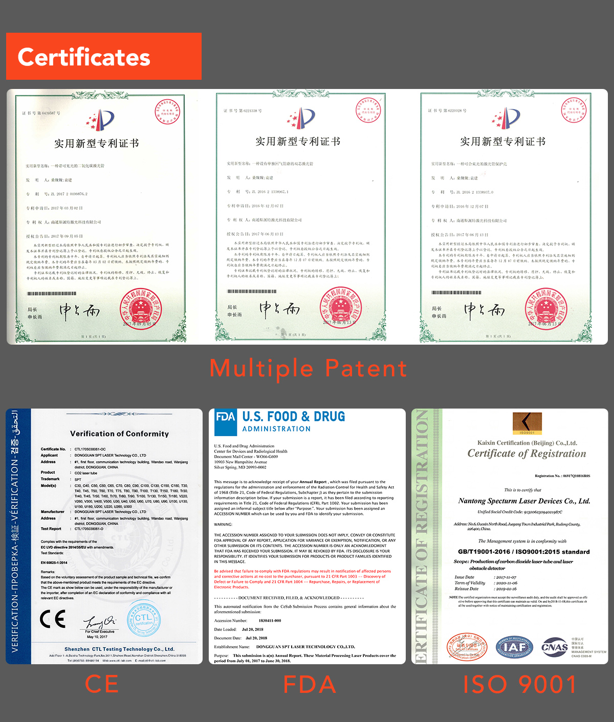 certificates of spt laser
