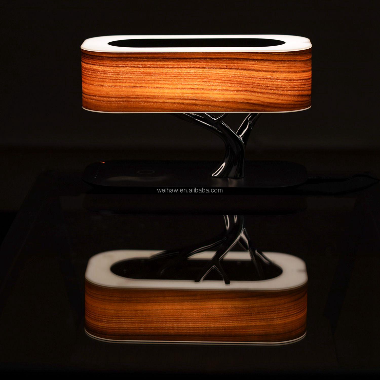 2020 mais recente lançamento rosewood liga de zinco árvore iluminação 10w qi carregador sem fio nfc bluetooth speaker lâmpada de cabeceira YT-M1602-B2S