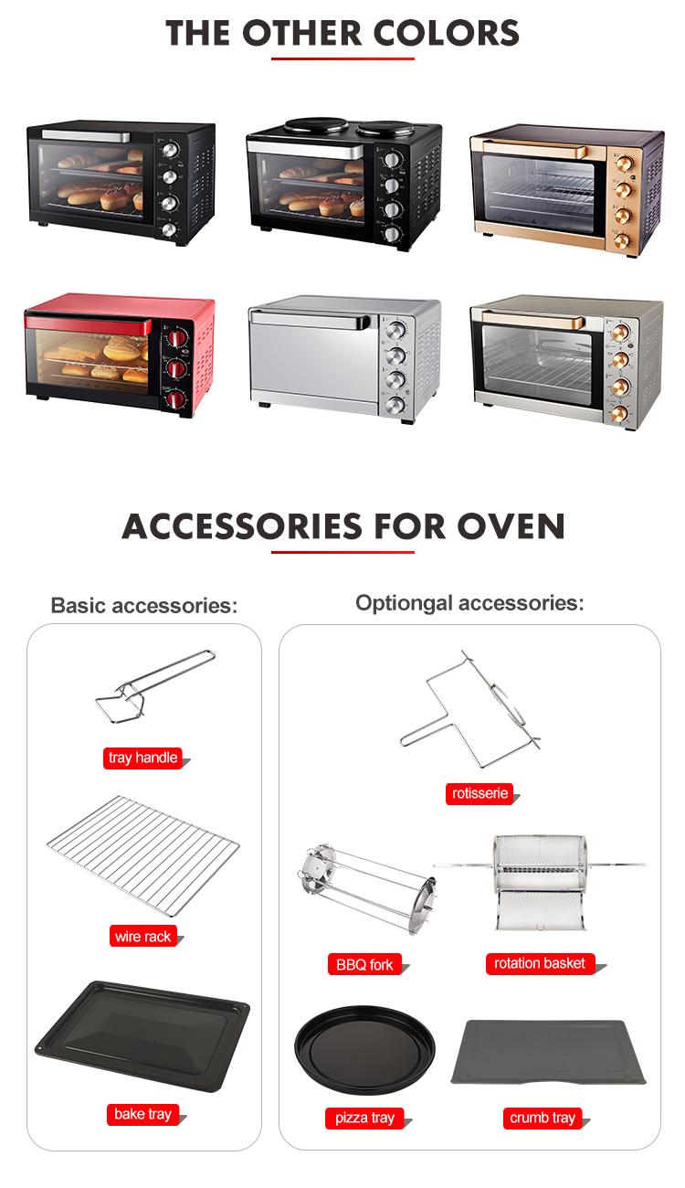 Multifunction Home baking 50l oven electric mini otg oven cake Kebab Baking Precise temperature control Multi level grill