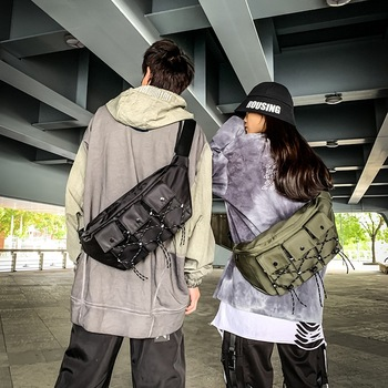 Street snap super cool cross bag large capacity men's and women's bags chest bag