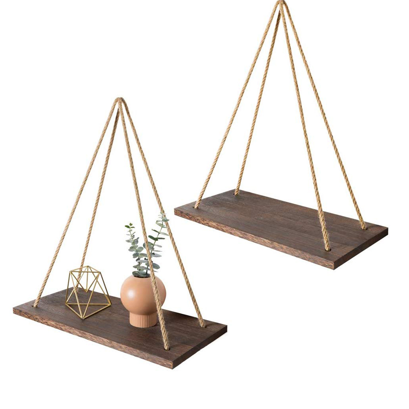 3-Tier Rustic Wood Wall Shelf with Hanging Rope