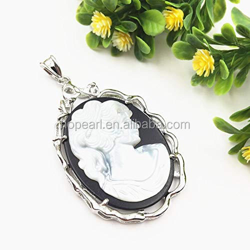 MOP90 Natural Mother of Pearl Shell Pendant Beauty Women Cameo Carved White Shells Pendants Craft