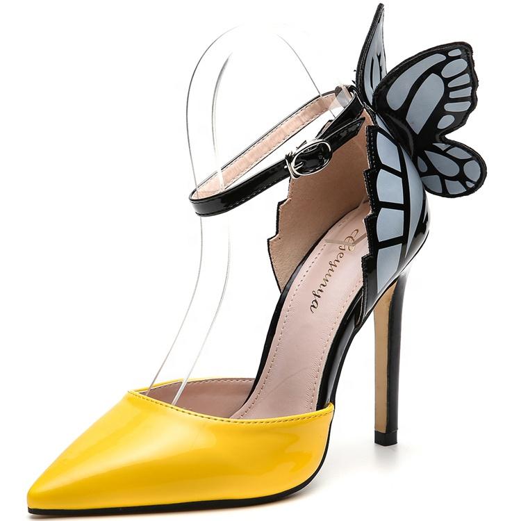Nieuwste Ontwerp Womens Hoge Hakken Jurk Schoenen Patchwork 3D Vlinder Stiletto Party Wedding Pompen Dunne Hakken Schoenen