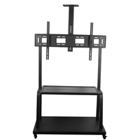 55-100inch Rolling TV/Monitor Stand mobile Cart Wheel Mount With shelf/ Tray Height Adjustable Tilt swivel LCD LED Display floor