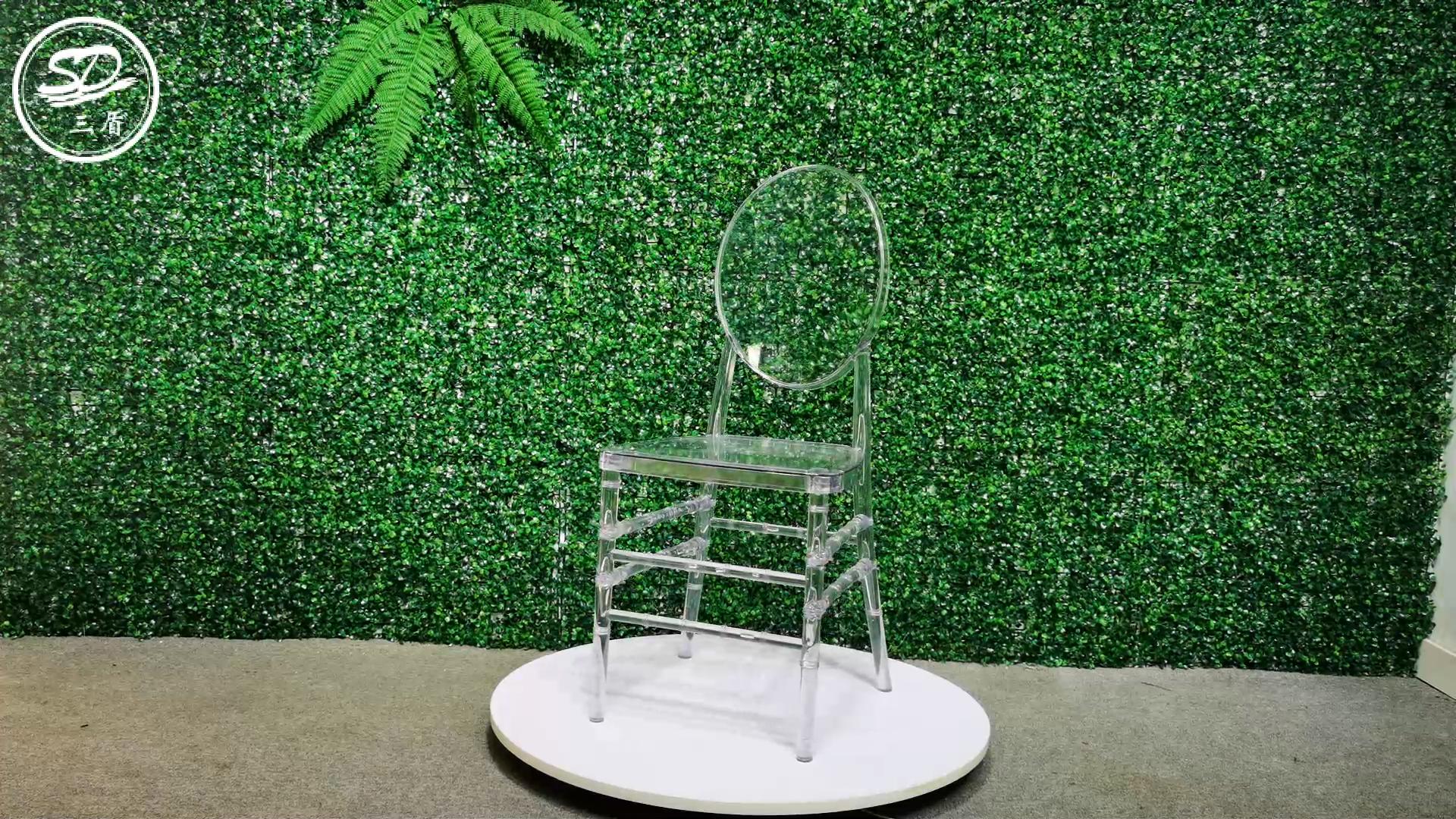 Rodada de Volta Cadeira de Design Cadeira de Acrílico Cristal Resina Do Casamento Do Partido Do Evento AC-010