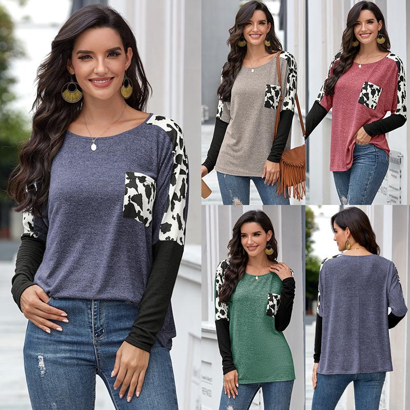 2020 新ファッションホットヒョウ柄ポケット長袖tシャツ女性