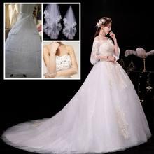 Свадебное платье со шлейфом LAMYA, кружевное платье с коротким рукавом и аппликацией размера плюс, для невесты(China)