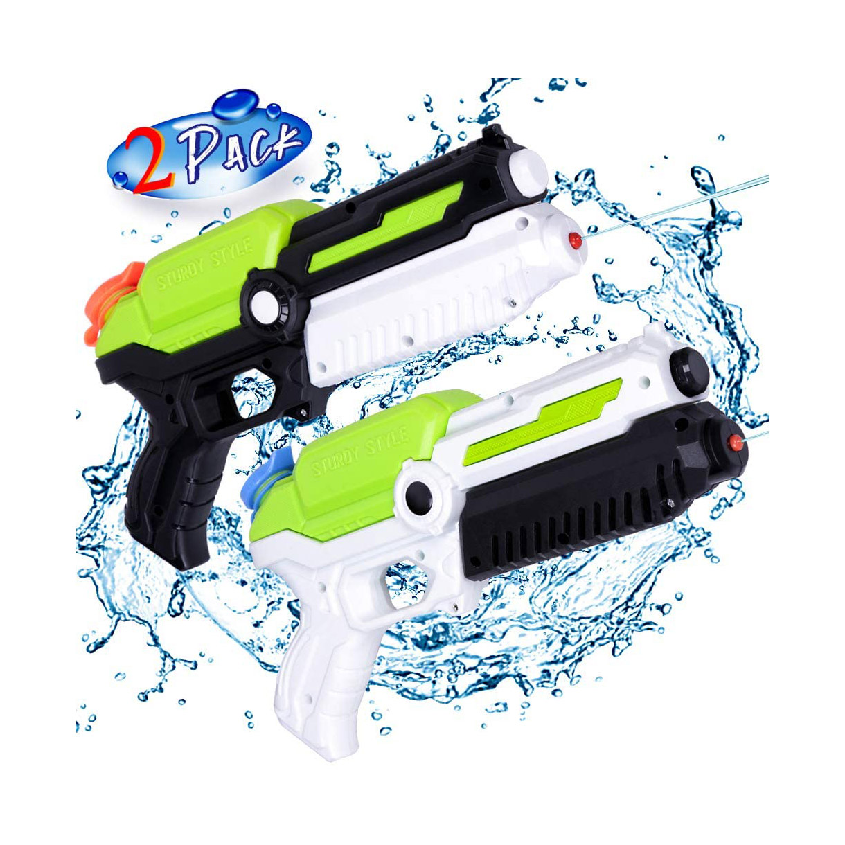 2 Pack Water <strong>Guns</strong> for Kids, Small Water Pistols Squirt <strong>Guns</strong> for Outdoor Summer Fun Water Battle Pool Garden Party, Gifts for Kid