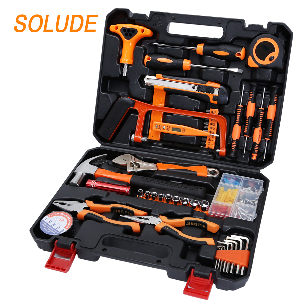 SOLUDE plastic toolbox storage case screwdriver hammer saw wrench socket hardware <strong>tools</strong> 95 Pieces Hand <strong>Tools</strong> Set For Household