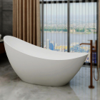 Artificial Stone White Acrylic Solid Surface BathtubComfortable matt solid surface bathtub, composite resin stone bathtub