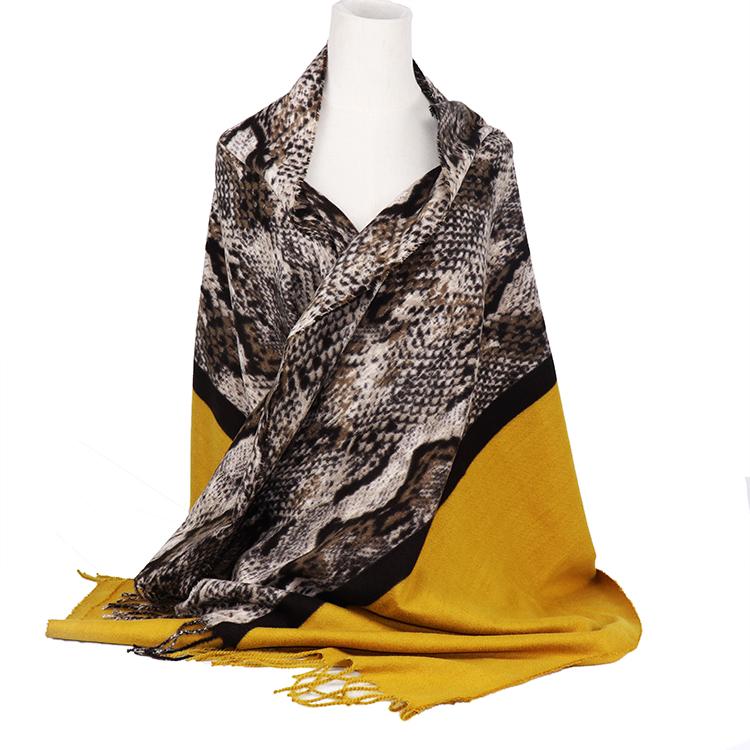 蛇スカーフ寒冷女性タッセル冬暖かい python 在庫スカーフプリントスカーフ