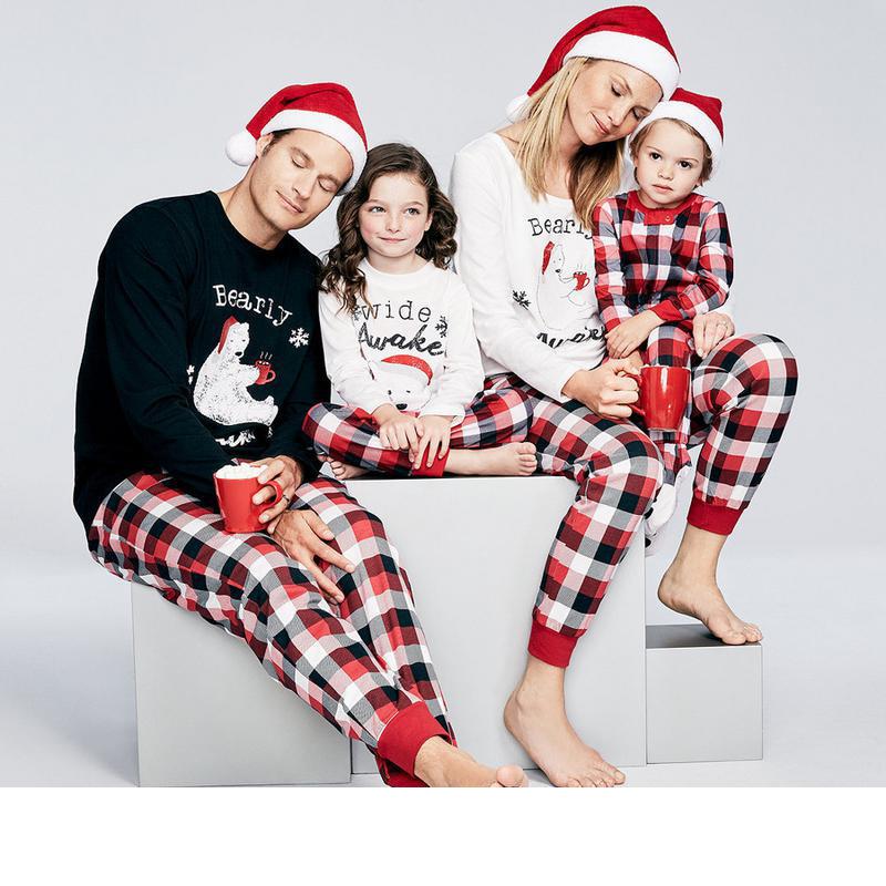 Set Piyama Keluarga Wanita, Set Celana Tidur Natal Anak Laki-laki Perempuan