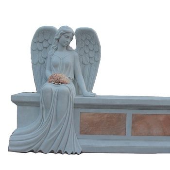 Customized size white marble tombstone with angel carving