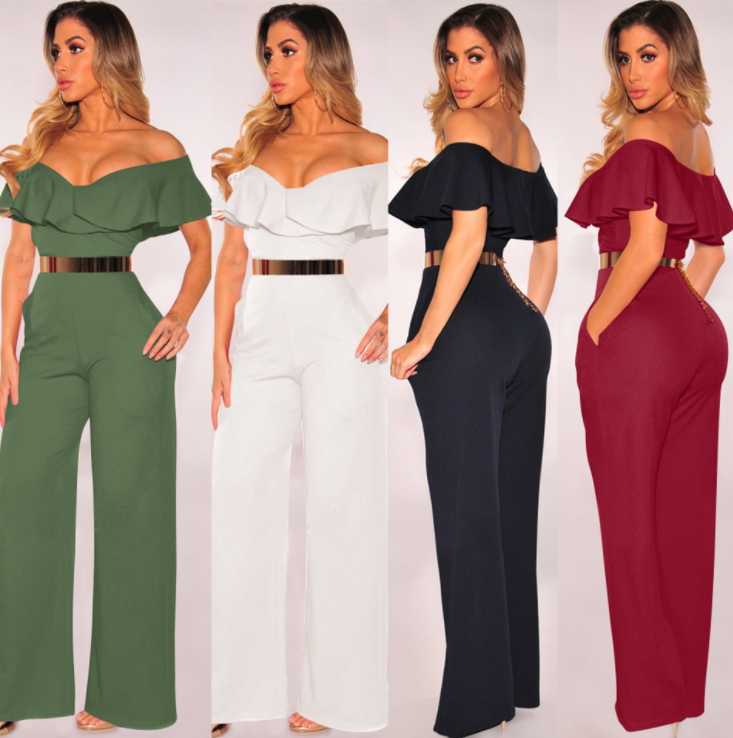 Sexy high-waisted jumpsuit with flounces