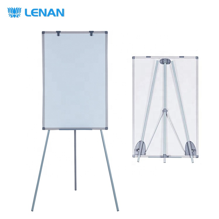 Portable magnetic white board stand flipchart easel mobile simplified tripod flip chart board with hooks