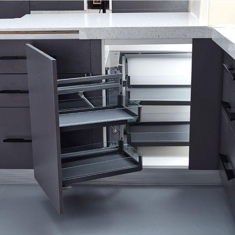 Stainless steel magic corner ,kitchen storage wire basket iron chrome plating