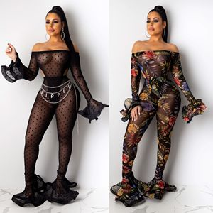 Sexy Clubwear Rompers Womens Jumpsuit Bell Bottoms Bodycon See Through Women Jumpsuits