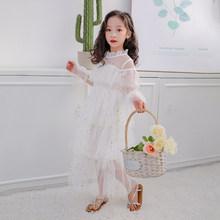 Детское летнее платье принцессы для маленьких девочек, одежда с длинными рукавами, сетчатая одежда с цветочной вышивкой для свадебной вече...(China)