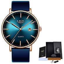 LIGE 2020, новые женские часы, Топ бренд, роскошные женские ультратонкие часы с сетчатым ремешком, водонепроницаемые кварцевые часы из нержавею...(Китай)