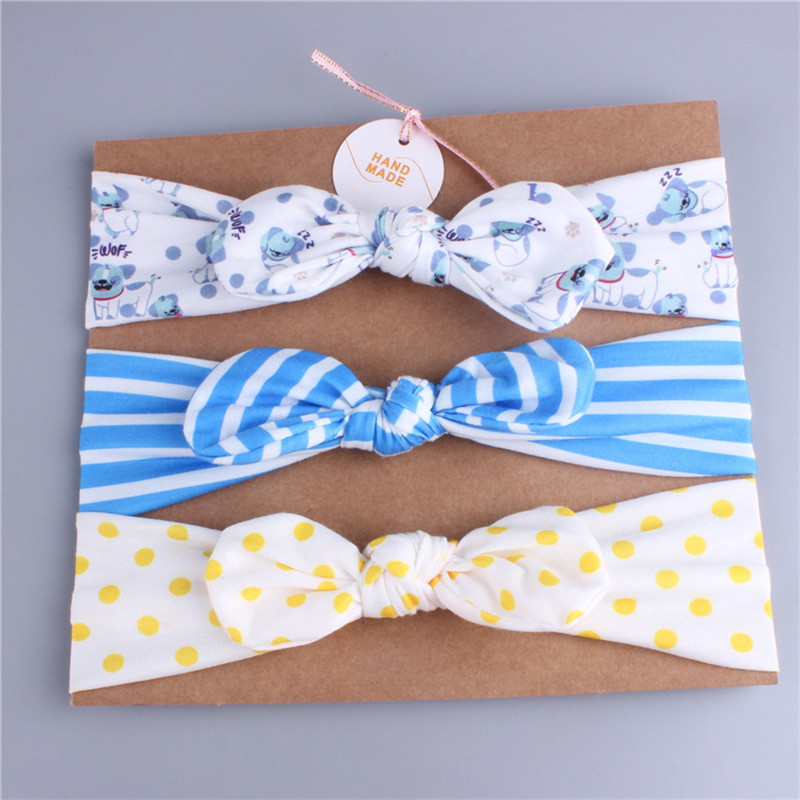 Europe And America New Style Kids Elastic Headband Color Printed 3pcs/set Factory Wholesale
