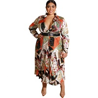 Wholesale Autumn And Winter Printed Pleated Satin Deep V Sexy Plus Size Long Sleeved Dress With Belt