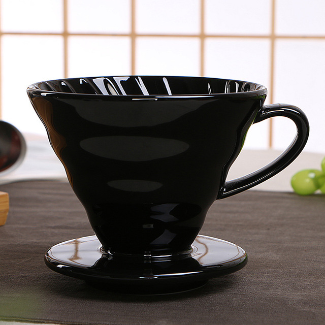 Hot salered grey medium vietnam coffee cone drip funnel filtration custom embossed logo filter ceramic pour over coffee dripper
