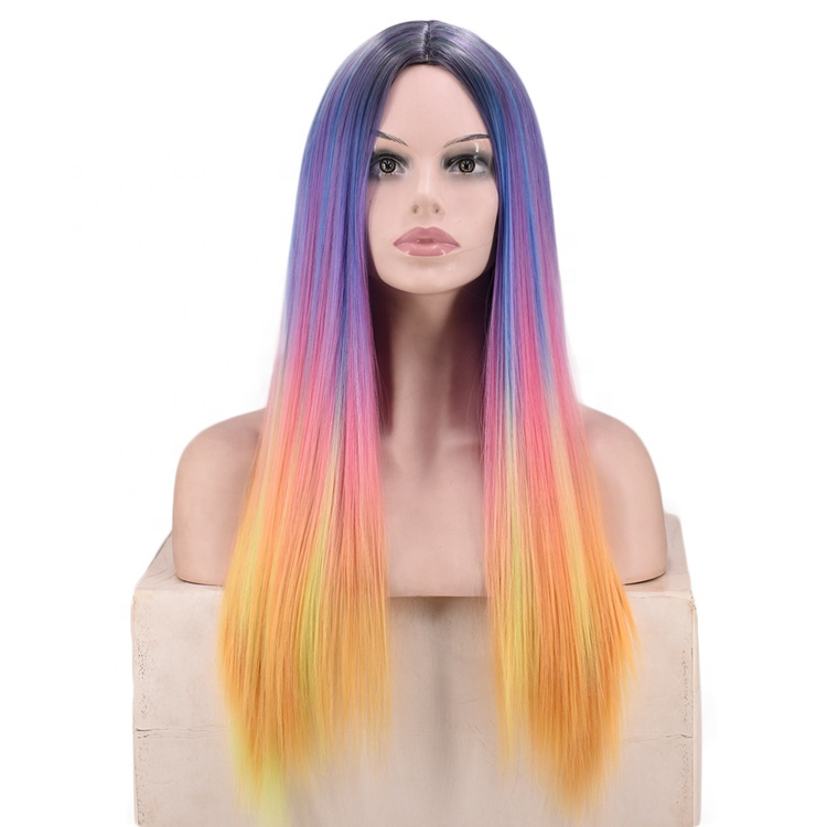 Multicolor Ombre <strong>Wig</strong> Long Straight <strong>Synthetic</strong> <strong>Wig</strong>