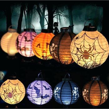 20CM Halloween Party Decoration Lanterns skeleton Bat Spider Pumpkin LED Light Portable Hanging Paper Lantern Lamp