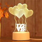 wholesale kids room creative USB battery custom 3d illusion Acrylic base children anime lamparas desk table night light led lamp