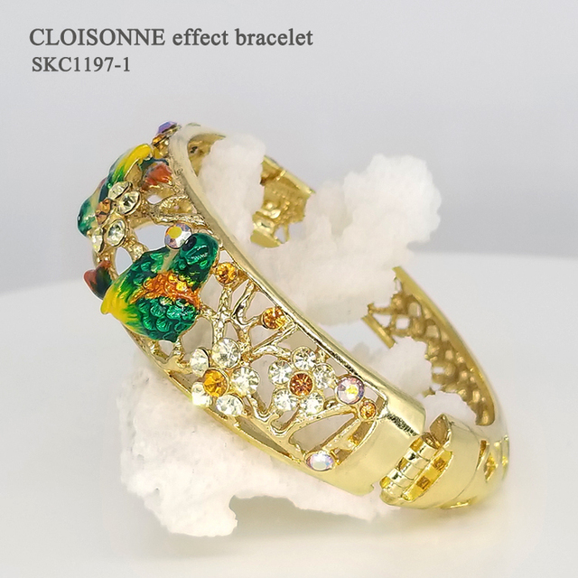 Rhinestone Artificial Crystal Enamel Cloisonne Bracelet Zinc Alloy Bangle Women Accessory Jewellery