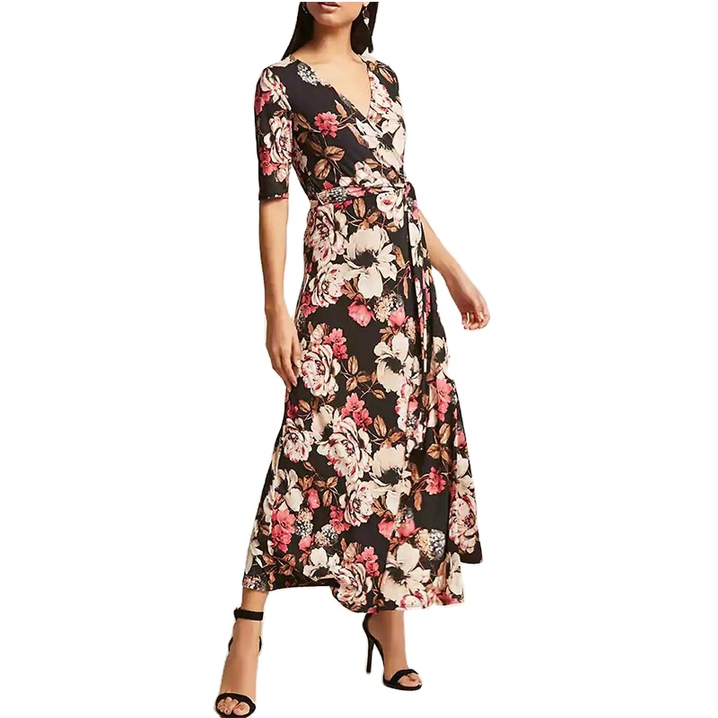 OEM Wholesale Fancy Women Floral Maxi Velvet Dresses