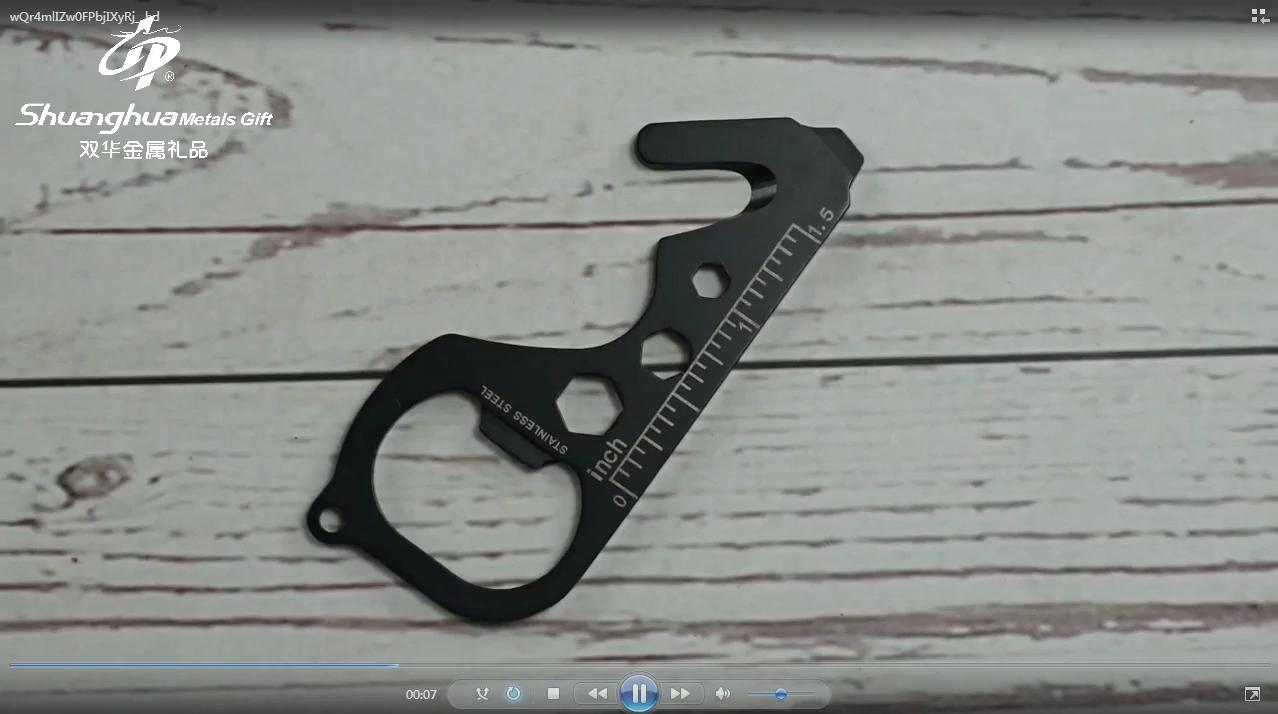 Customize stainless steel black metal multifunction bottle opener keychain