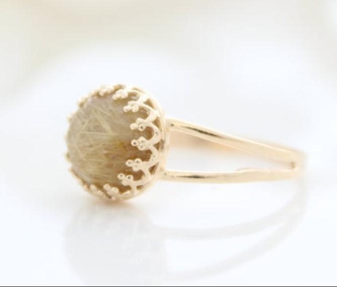 Customized Sterling silver gemstone Golden rulite Ring for women