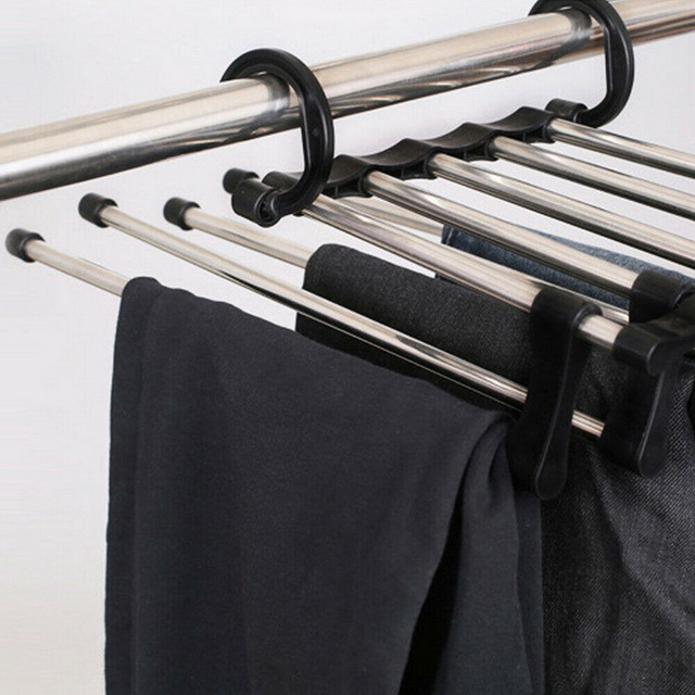 5 In 1 Folding Multi-Layer Pants Trousers Scarf Tie Hanger Storage Rack