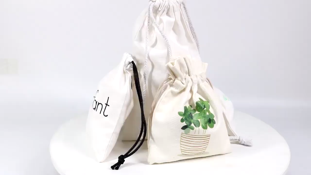 High Quality Organic Cotton Muslin Canvas Drawstring Bag With Custom Logo